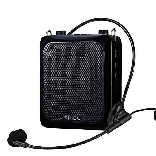 Bluetooth-Sprachverstärker, SHIDU persönlicher Sprachverstärker 18W mit Kabelmikrofon-Headset Tragbarer, wasserdichter Bluetooth-Lautsprecher wiederaufladbare PA-System-Powerbank(S28BT-W)