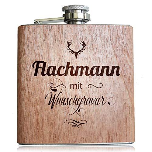 Holz Flachmann mit Wunsch Gravur! Mit eigenem Namen, Text, Logo, Vereine, Firmen. Geschenk Idee für Männer & Frauen