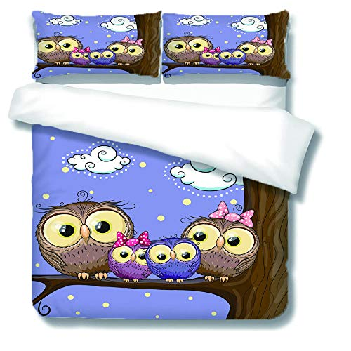 XCLXJ Double Duvet Covers Set 3D Owl Pattern Printe Bedding Set 3 Piece Easy Care and Soft Microfiber Fabric Creative Gift for Kids Boys Girls Teens Adults Old Man(200x200 cm)