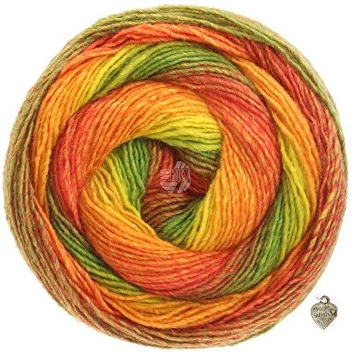 Lana Grossa modèle Gomitolo Versione Laine Peignée 200 g, Laine Bobbel avec dégradé de couleur et cœur, Olive/rouge/orange/jaune/jaune/vert/vert., 1