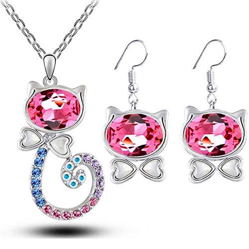 RHYJKOJ Sieraden set Kristallen Kat Ketting Kat Oogdruppel Oorbellen Sieraden Set Voor Vrouwen Party Mode Sieraden