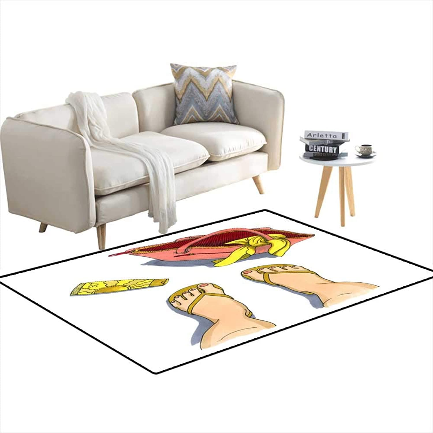 Anti Skid Rugs Watercolor Illustration of Beach Bag a Tube of Suntan Cream anlegs in flip-Flops or Sandals View from Above 48 x61