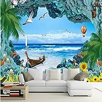Iusasdz 青い壁紙3Dサンゴ礁海の風景3D壁紙リビングルーム寝室の壁の壁画-350X250Cm