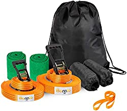 Bonnlo Slackline Kit with Training Line Extra Longer 65 ft Ratchet, Ratchet Protector, Tree Protector, Perfect Arm Trainer for Beginners Kids Kids and Adults