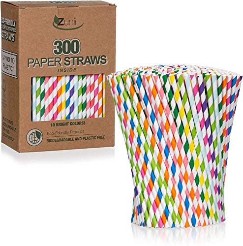 top 10 paper straws Zunii 300 Pack Multicolor Biodegradable Paper Straws – 10 Bright Colors – Environmentally Friendly Straws…