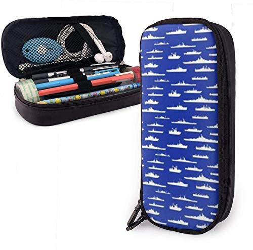 Estuche Lápices Us Navy White Fleet at Sea Cute Pen Pencil Case Leather 8 X 3.5 X 1.5 Inch Pouch Bag Pencil Case with Double Zipper Holder Box for School Office Girls Boys Adults