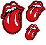 3 PCS Red Lips Tongue Patches Iron on Patches Embroidered Motif Applique Glitter Sequin Decoration Patches DIY Sew on Patch for Jeans Clothing Tattoo Biker Punk Embroidered Applique Sequins Badge