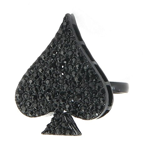 JOE COOL Ring Ace of Spades 22x28mm Made with Crystal Glass & Tin Alloy