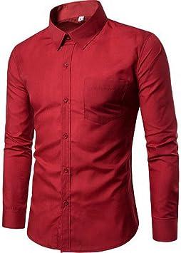 YFSLC-Studio Camisa De Manga Larga Hombre,Vino Rojo Los ...