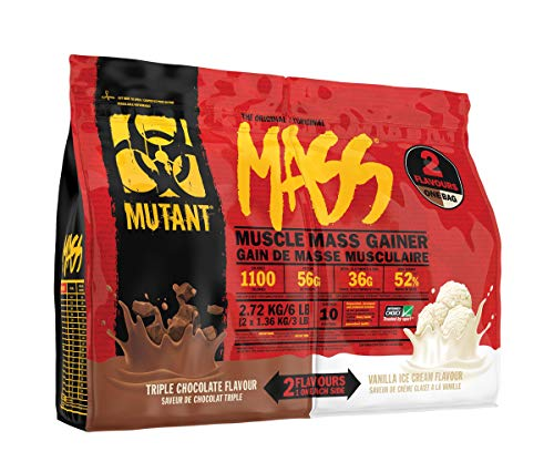 MUTANT Mass Weight Gainer, Protein Blend, for High-Calorie Workout Shakes, Smoothies and Drinks (Triple Chocolate & Vanilla Ice Cream, 2.72kg)
