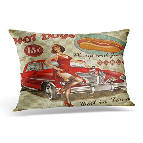 Awowee - Funda de cojín (30 x 50 cm, 30 x 50 cm), diseño vintage de perro caliente con Pin Up Girl y retro Carhood Oregon Travel America Home Decor Throw funda de cojín para sofá cama