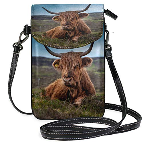XCNGG Small Crossbody Coin Purse Beef Scotland Highland Cow Ox MeadowPhonepurse for Women Bags Leather Multicolor Smartphone Bags Purse With Removable Strap