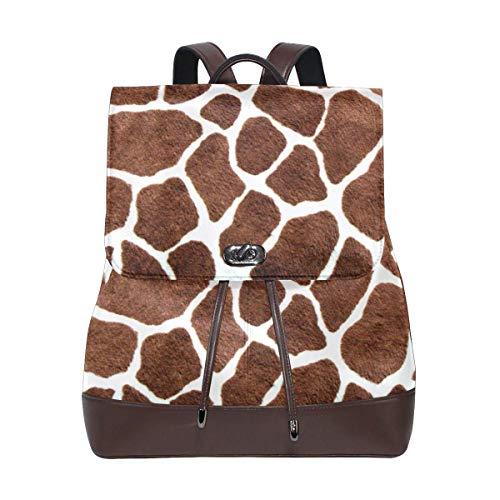 Flyup Animal Giraffe Print PU leather Backpack College School Bookbag Shoulder Hiking Travel Daypack Casual...
