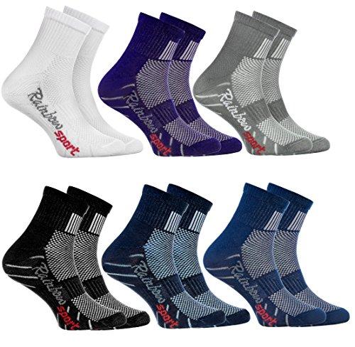 Rainbow Socks - Jungen Mädchen Sneaker Bunte Baumwolle Sport Socken - 6 Paar - Weiß Lila Grau Blau Marino Schwarz Jeans - Größen 24-29