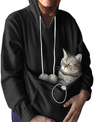 Nlife Mode Frauen Männer Unisex Katze Ohr Langarm Hoodie Pollover Top mit Großen Känguru Tasche für Haustier Hund Katze Halter, XL,  Black