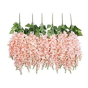 U'Artlines Wisteria Artificial 2.3 Feet/Piece Hanging Wisteria Vine Fake Flower Bush String Home Party Wedding Decoration,Pack of 6,Light Pink