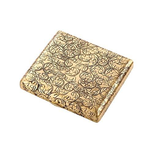 Zixin Humidor-Zigarettenetui 20 Stöcke, tragbarer einfacher Retro-Zigarettenetui Kreativer Retro-Kupferdraht, ist das for Raucher, Größe 9.3 * 8.45 * 1,78 cm, Gold, Druckdruckzigarma