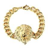 HZMAN Heavy Mens Lion CZ Eyes Bracelet Chain Stainless Steel Gold Plated Biker Punk Curb Cuban Rombo Link
