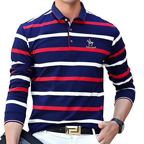ポロシャツ 長袖 メンズ ゴルフウェア ボーダー スポーツポロシャツ 綿 ビジネス ゴルフシャツ 男性 ストライプ 刺繍 秋冬春 レッド 8805RED-3XL