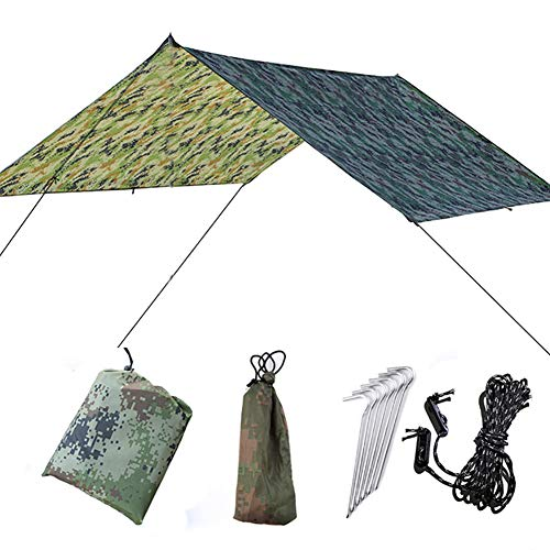 sjlerst Shade Sail Sun Canopy Outdoor Multi-Function Tent Tarp Camping Tarp, Hammock Tarp Tent, Waterproof with Storage Bag for Camping, Picnic, Hiking, Outdoor