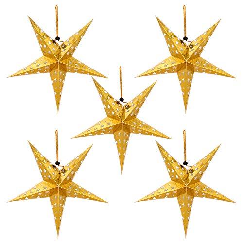 Mobestech 5pcs stella di carta paralume albero di Natale decorazione appesa a soffitto 45 centimetri ciondolo lucido rifornimenti tonalità chiara festa per il compleanno di nozze di Natale (oro)