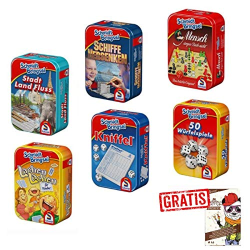 SPAR-SET 174854 - Schmidt Bringsel - 6 Verschiedene Mitbring-Spiele in Metallbox + Gratis Snappy Dressers Kartenspiel