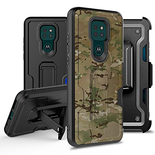 Thousandgear Designed for Motorola Moto G Play 2021 with Tempered Glass, Belt Clip Holster Kickstand Protective Hybrid Cover Heavy Duty Armor Defender Shockproof Rugged Phone Case (Camoflauge)