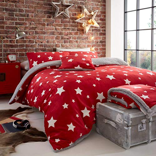 B&L STAR Teddy Fleece Duvet Cover Sets Thermal Warm & Super Soft Cozy Fluffy with Matching Pillow Cases Size Single Double King (Star Teddy Red, Double)