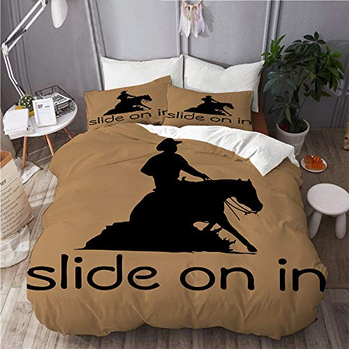 KIMDFACE Pferd Western Cowboy,Mikrofaser Bettwäsche 135x200cm,Reißverschluss Bettbezug 2 Kissenbezug 50x80cm
