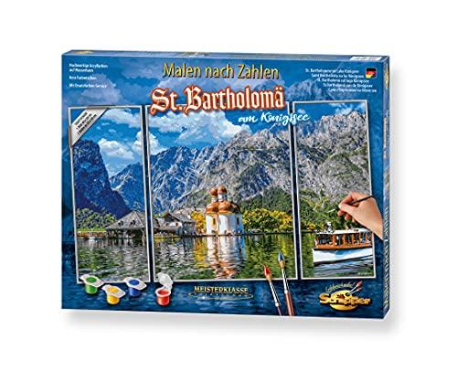 Schipper 609260841 Zahlen – St. Bartholomä am Königssee-Bilder malen für Erwachsene, inklusive Pinsel und Acrylfarben, Triptychon, 50 x 80 cm, Bunt