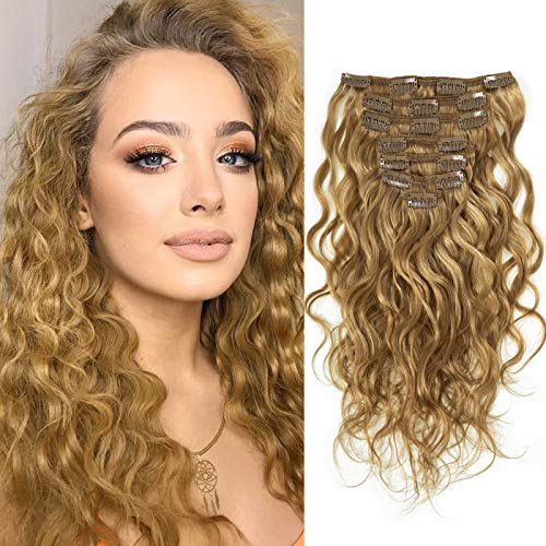 Caliee Double Wefts 14Inch Human Hair Clip in Hair Extensions Natural Wavy Curl Blonde Color for Women Thick End Real Hair Thick End Wave Curly #27 7 Pieces 17 Clips with 120 Gram Per Pack