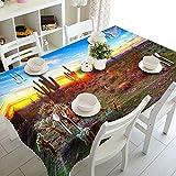 Mantel Mesa de Comedor Cocina Cielo Azul Suculento Patrón Serie Paisaje Poliéster Rectangular Manteles Impermeable Lavable Resistente a la Suciedad Regalo del Día de Padre 137x185cm