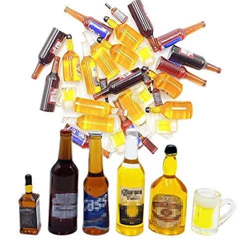 HRASY 30 botellas de vino de resina en miniatura, botellas de cerveza en miniatura, para casa de muñecas, decoración de mesa de comedor