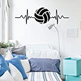 Volleyball Wall Decal - Heart Beat - Vinyl Art Decor for Bedroom or Playroom - Sports Decorations