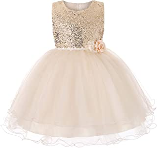 5e4e152eef3a6 GUUMOR Girls Sequin Mesh Flower Ball Gown Tulle Princess Dress Tutu  Birthday Party Dress