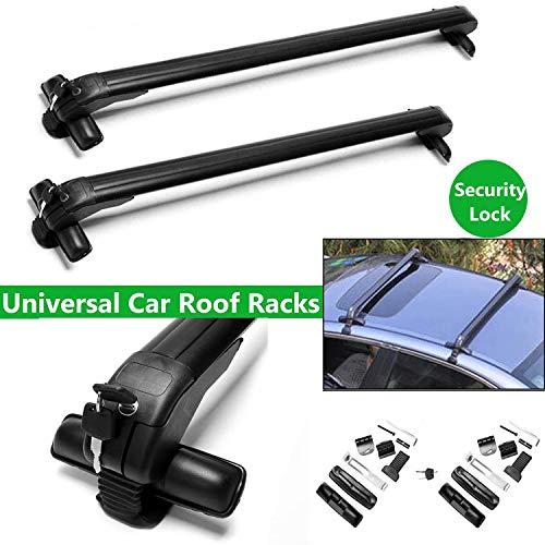 Bowose 41.3 Inch Universal Roof Racks Bars voor Auto Truck Zonder Rails Afsluitbaar Anti-Diefstal Rack Inclusief 2 Klemtypen UK Stock, 2 Jaar Garantie