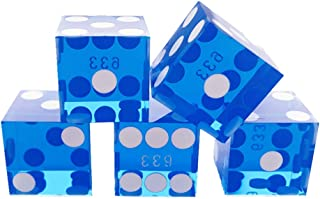 YH Poker Set of 5 Precision 19mm Seriallized Casino dice with Razor Edges and Corners(Blue)