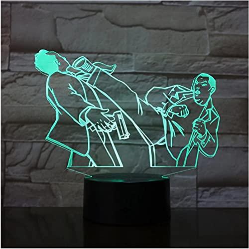 Lámpara LED 3D, 7 colores, cambio de interruptor táctil remoto, decoración USB, luz nocturna para dormir, iluminación para bebés
