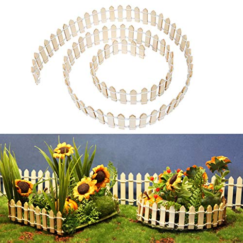Kleine Holzzaun Miniatur Garten Zaun 100cm lang Garten Dekoration Steckzaun Holz Miniatur Zaun aus Holz Kostenlose Kollokation Micro-Landschaft Zubehör Fairy Garden Ornament zum Basteln Terrarium