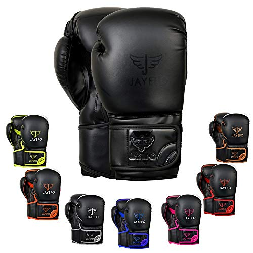 Jayefo Glorious Boxing Gloves Muay Thai Kick Boxing Leather Sparring Heavy Bag Workout Pro Leather Gloves Mitts Work for Men & Women (Black, 6 OZ)