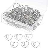 100 Pieces 3 cm Love Heart Shaped Small Paper Clips Bookmark Clips for Office School Home (Silver)