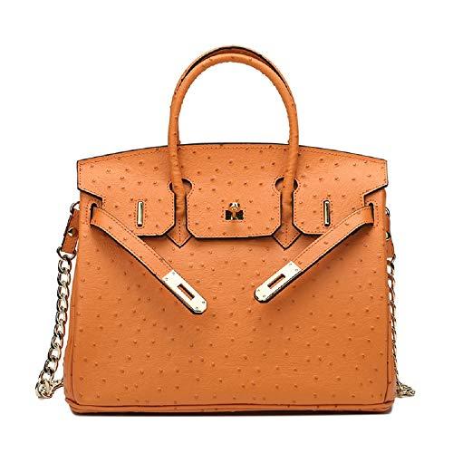 nobrand Damen Leder Handtasche Ein-Schulter-Tasche schräge Tasche für Arbeitsfeiern und Reisen multifunktionale Taschen 35×26×18cm Orange