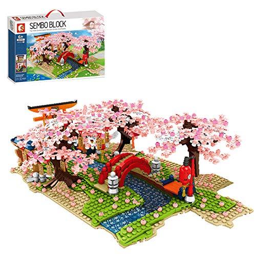 Myste Romantisches Sakura Baumhaus Bausteine mit LED-Licht, 1400 Stück DIY Kirschblüten Landschaftsmodell mit Fluss & Brücke & Grundplatten, Architektur Haus Kompatibel mit Lego Baumhaus