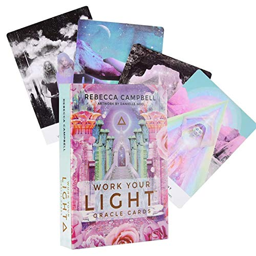 GRXIN 44 Cartas De Tarot,Work Your Light Oracle Card Deck Juego De Cartas Oracle Cards para Principiantes (Edición En Inglés) Adecuado para Niños Y Adultos