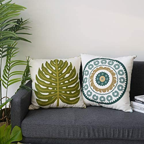 Set of 2 Boho Pillow Cover 18x18 Spirng Embroidered Decorative Throw Pillow Cover Plantain Leaf product image