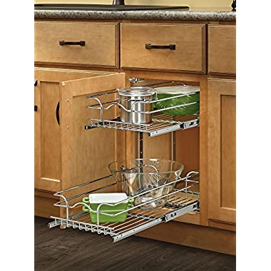 Rev-A-Shelf 5WB2-0918-CR Base Cabinet Pullout 2 Tier Wire Basket Reduced Depth Sink & Base Accessories, 9 W x 18 D-Inches