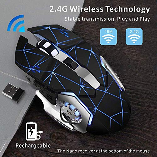 Wireless Gaming Mouse with Unique Silent Click, Breathing Backlight, 2 Side Buttons, (2400, 1600, 1200, 800) DPI, Ergonomic Handle, 6 Buttons, Suitable for PC Notebook Gamers.… (HS-1.1)