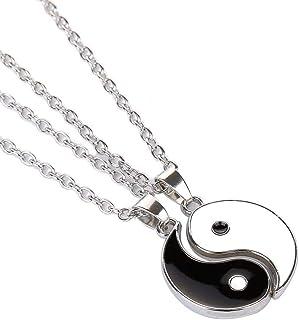 1Pair Yin Yang Pendant Chain Necklace for Women or Men Adjustable 2 PCS Best Friend Black Choker Necklaces for Couples