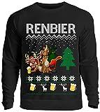 Kreisligahelden Ugly Christmas Sweater Herren Lustig Renbier - Pullover Baumwolle mit Motiv Aufdruck - Weihnachten Party Ugly Christmas Fun Saufen Bier (Schwarz S)