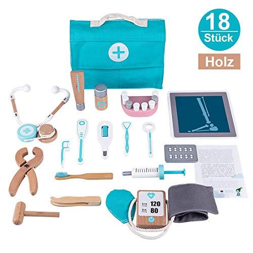 Searchyou - 18 Stück Hölzern Medizinisches Spielzeug Doktor Set für Kinder, Rollenspiel Arzt Spielzeug Arztkoffer mit Stethoskop